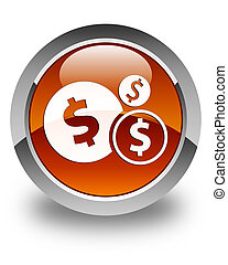 Finances (dollar sign) icon glossy brown round button