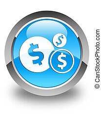 Finances (dollar sign) icon glossy cyan blue round button
