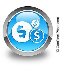 Finances (dollar sign) icon glossy cyan blue round button