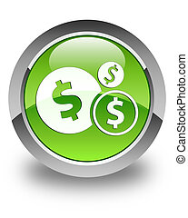 Finances (dollar sign) icon glossy green round button