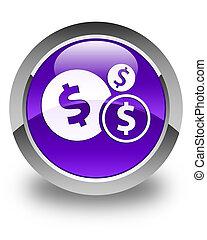 Finances dollar sign icon glossy purple round button