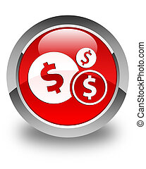 Finances (dollar sign) icon glossy red round button