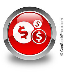 Finances dollar sign icon glossy red round button