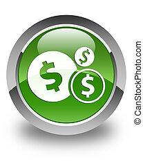 Finances (dollar sign) icon glossy soft green round button
