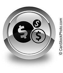 Finances dollar sign icon glossy white round button