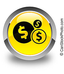 Finances dollar sign icon glossy yellow round button