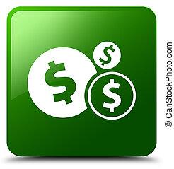 Finances dollar sign icon green square button