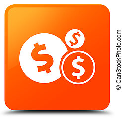 Finances dollar sign icon orange square button