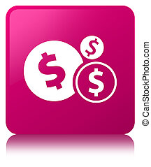 Finances dollar sign icon pink square button