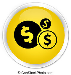 Finances dollar sign icon premium yellow round button