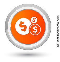 Finances dollar sign icon prime orange round button