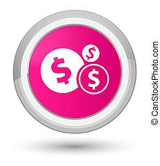 Finances dollar sign icon prime pink round button