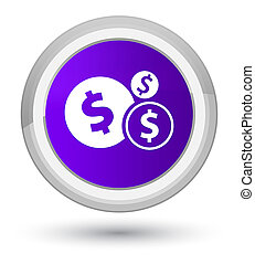 Finances dollar sign icon prime purple round button