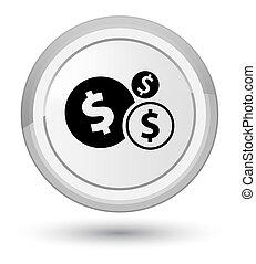 Finances dollar sign icon prime white round button