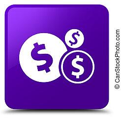 Finances dollar sign icon purple square button
