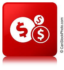 Finances dollar sign icon red square button