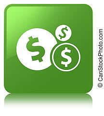 Finances dollar sign icon soft green square button