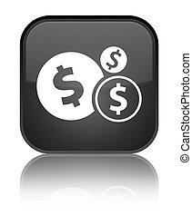 Finances dollar sign icon special black square button