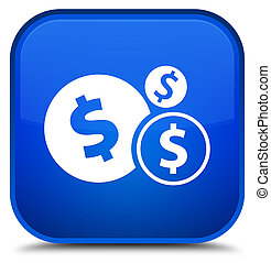 Finances dollar sign icon special blue square button