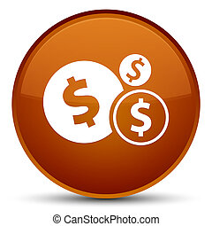 Finances dollar sign icon special brown round button