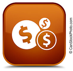 Finances dollar sign icon special brown square button
