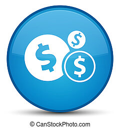 Finances dollar sign icon special cyan blue round button