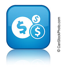 Finances dollar sign icon special cyan blue square button