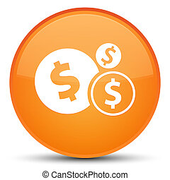 Finances dollar sign icon special orange round button