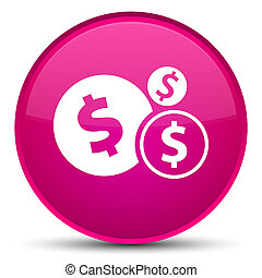 Finances dollar sign icon special pink round button