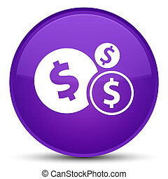 Finances dollar sign icon special purple round button