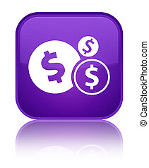 Finances dollar sign icon special purple square button