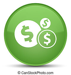 Finances dollar sign icon special soft green round button