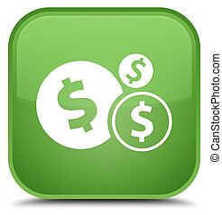 Finances dollar sign icon special soft green square button