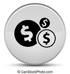 Finances dollar sign icon special white round button