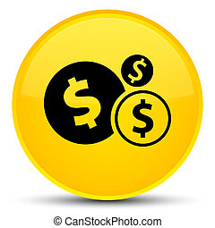 Finances dollar sign icon special yellow round button