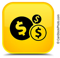 Finances dollar sign icon special yellow square button