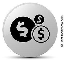 Finances dollar sign icon white round button