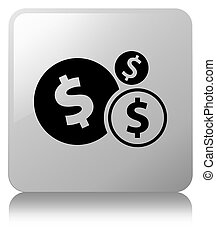 Finances dollar sign icon white square button
