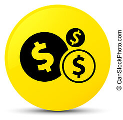Finances dollar sign icon yellow round button
