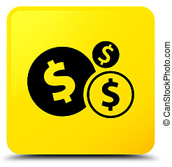 Finances dollar sign icon yellow square button