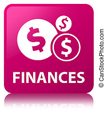Finances (dollar sign) pink square button