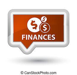 Finances (dollar sign) prime brown banner button