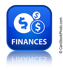 Finances (dollar sign) special blue square button
