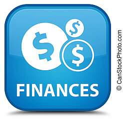 Finances (dollar sign) special cyan blue square button