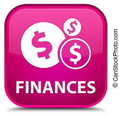 Finances (dollar sign) special pink square button