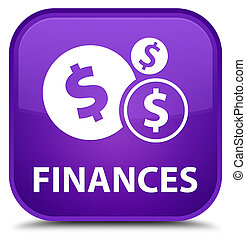 Finances (dollar sign) special purple square button