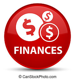 Finances (dollar sign) special red round button