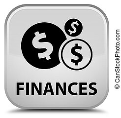 Finances (dollar sign) special white square button