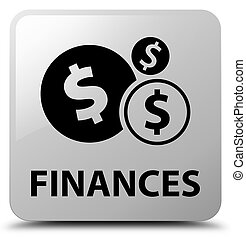 Finances (dollar sign) white square button
