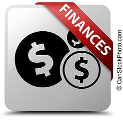 Finances (dollar sign) white square button red ribbon in corner